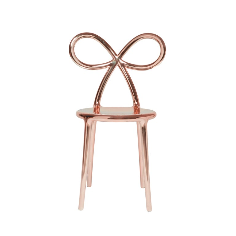 For Sale: Pink (Pink Gold) Qeeboo Ribbon Chair Metal Finish by Nika Zupanc