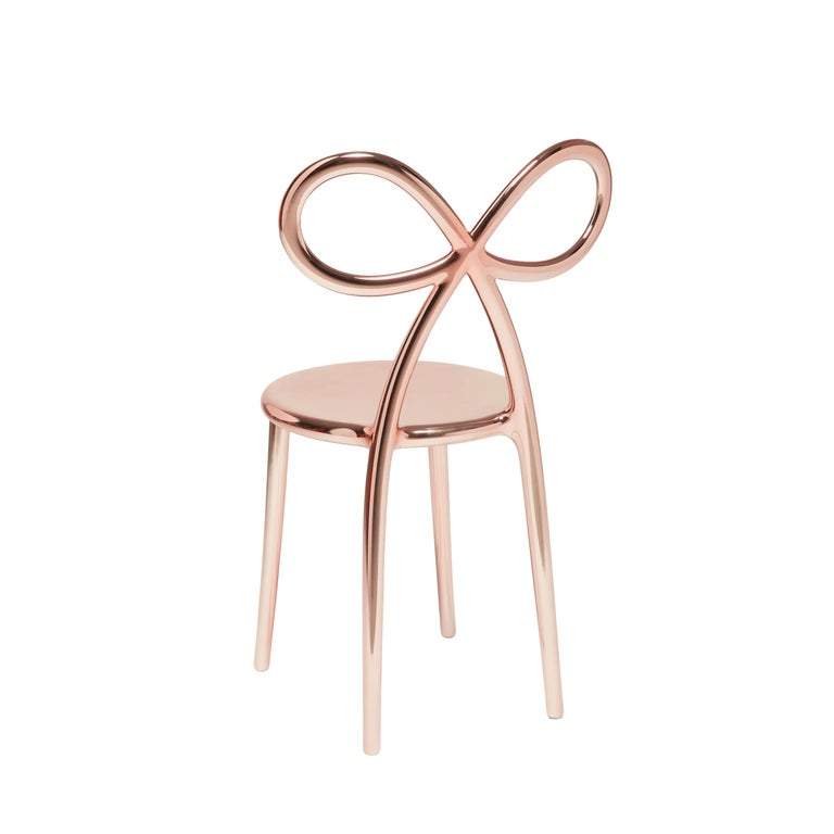 For Sale: Pink (Pink Gold) Qeeboo Ribbon Chair Metal Finish by Nika Zupanc 2