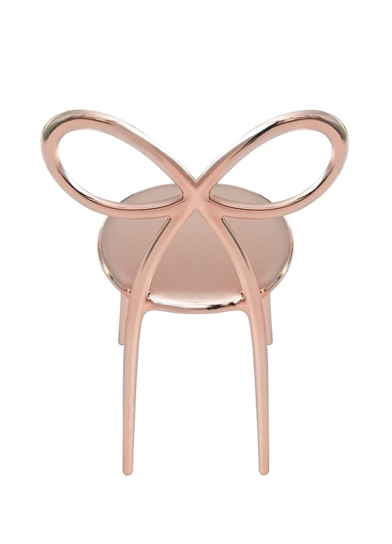 For Sale: Pink (Pink Gold) Qeeboo Ribbon Chair Metal Finish by Nika Zupanc 4