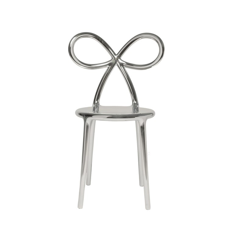 For Sale: Silver Qeeboo Ribbon Chair Metal Finish by Nika Zupanc
