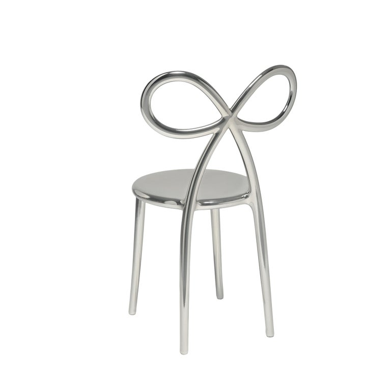 For Sale: Silver Qeeboo Ribbon Chair Metal Finish by Nika Zupanc 2