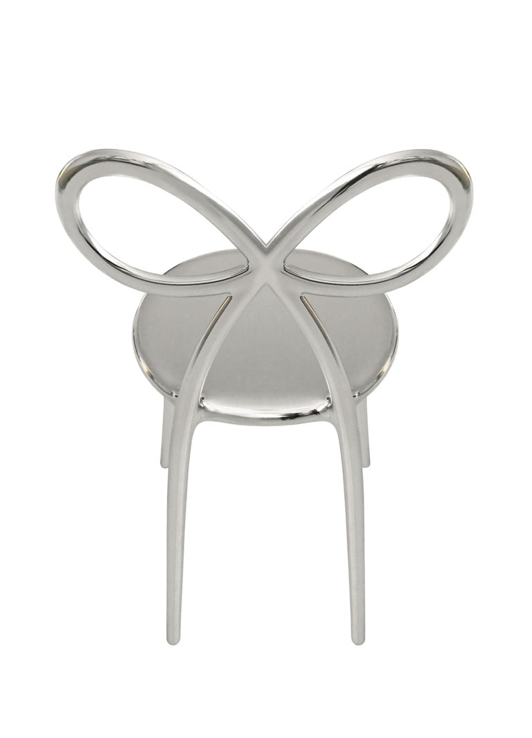 For Sale: Silver Qeeboo Ribbon Chair Metal Finish by Nika Zupanc 3