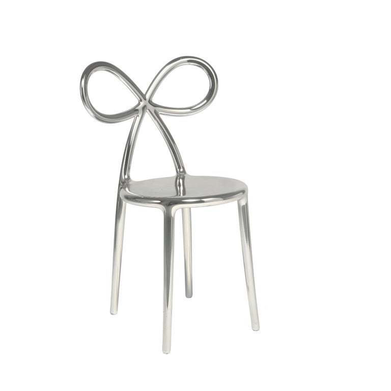 For Sale: Silver Qeeboo Ribbon Chair Metal Finish by Nika Zupanc 4