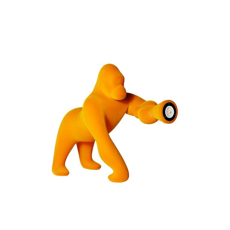 For Sale: Gold (Dark Gold) Modern Small Velvet Sculptural Gorilla Orange Table or Floor Lamp 2
