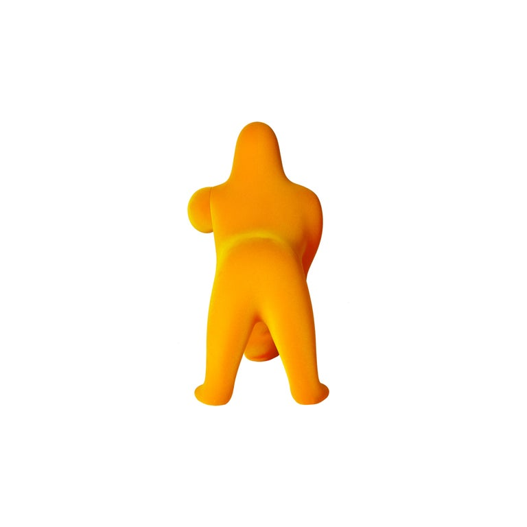 For Sale: Gold (Dark Gold) Modern Small Velvet Sculptural Gorilla Orange Table or Floor Lamp 4