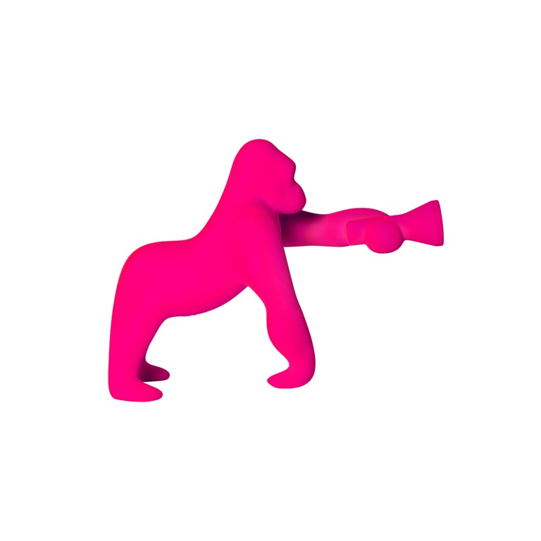 For Sale: Pink (Fuxia) Modern Small Velvet Sculptural Gorilla Orange Table or Floor Lamp