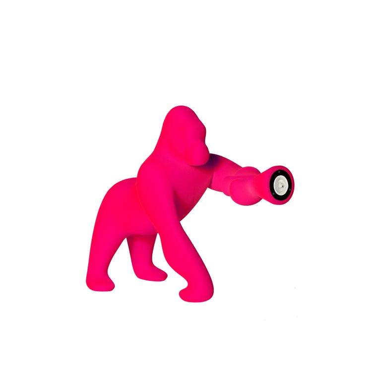 For Sale: Pink (Fuxia) Modern Small Velvet Sculptural Gorilla Orange Table or Floor Lamp 2