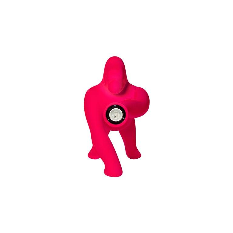 For Sale: Pink (Fuxia) Modern Small Velvet Sculptural Gorilla Orange Table or Floor Lamp 3