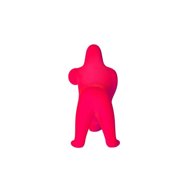 For Sale: Pink (Fuxia) Modern Small Velvet Sculptural Gorilla Orange Table or Floor Lamp 4