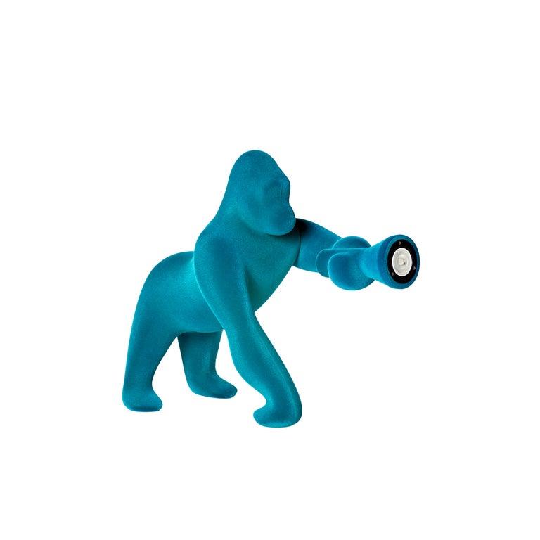 For Sale: Blue (Light Blue) Modern Small Velvet Sculptural Gorilla Orange Table or Floor Lamp 2