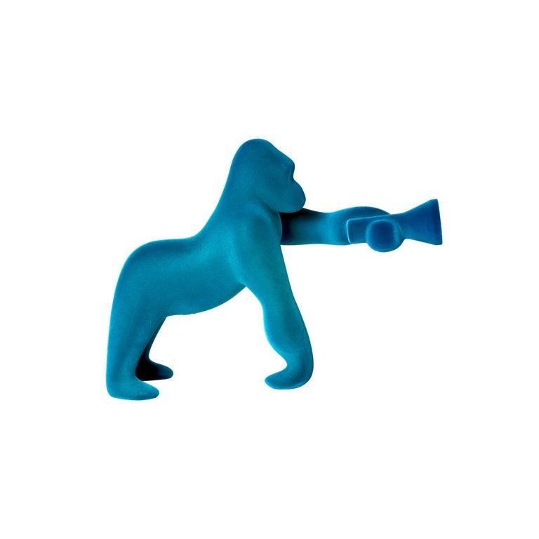 For Sale: Blue (Light Blue) Modern Small Velvet Sculptural Gorilla Orange Table or Floor Lamp