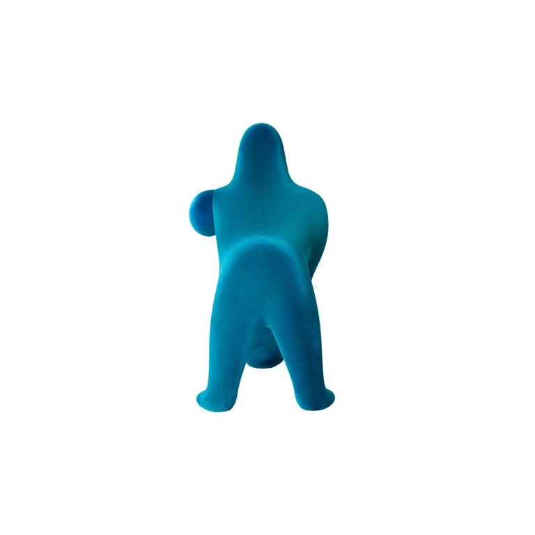 For Sale: Blue (Light Blue) Modern Small Velvet Sculptural Gorilla Orange Table or Floor Lamp 4