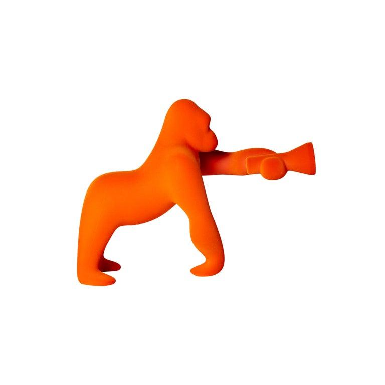 For Sale: Orange Modern Small Velvet Sculptural Gorilla Orange Table or Floor Lamp