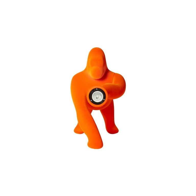 For Sale: Orange Modern Small Velvet Sculptural Gorilla Orange Table or Floor Lamp 3