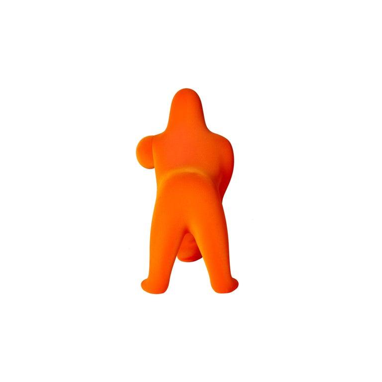 For Sale: Orange Modern Small Velvet Sculptural Gorilla Orange Table or Floor Lamp 4