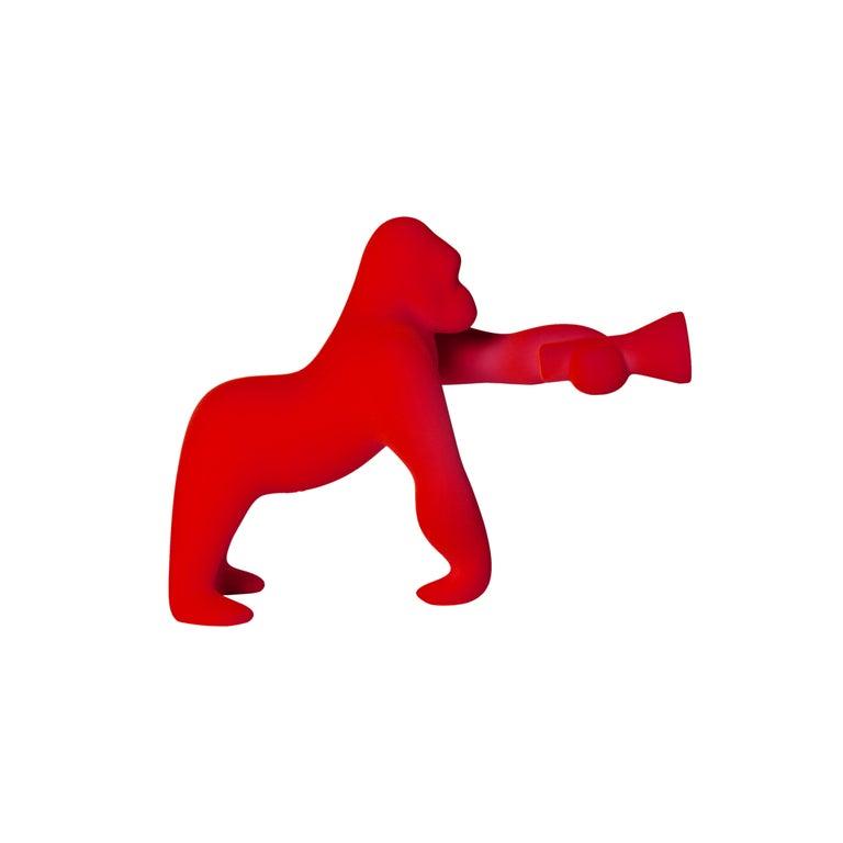 For Sale: Red Modern Small Velvet Sculptural Gorilla Orange Table or Floor Lamp
