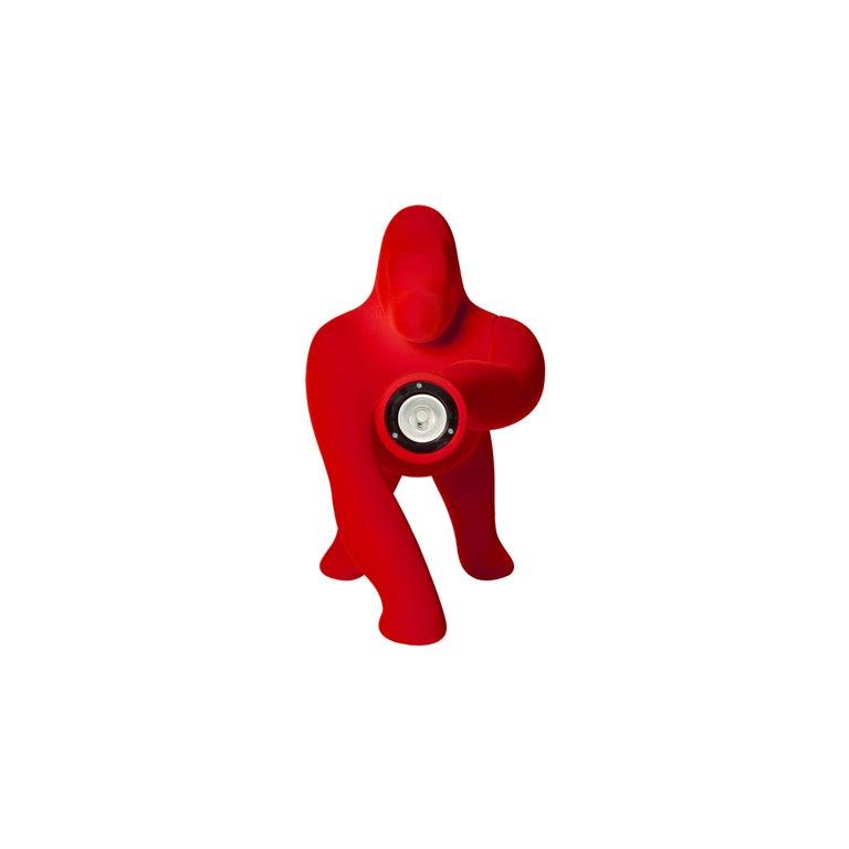 For Sale: Red Modern Small Velvet Sculptural Gorilla Orange Table or Floor Lamp 3