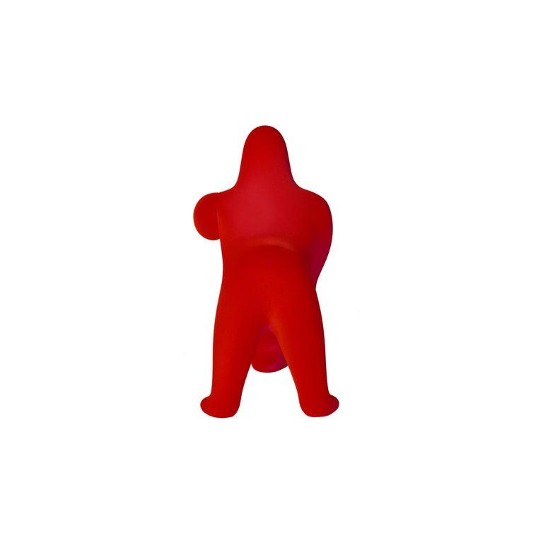 For Sale: Red Modern Small Velvet Sculptural Gorilla Orange Table or Floor Lamp 4