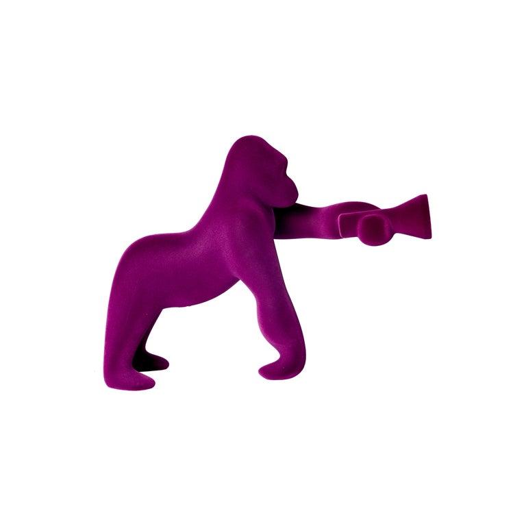 For Sale: Purple (Violet) Modern Small Velvet Sculptural Gorilla Orange Table or Floor Lamp