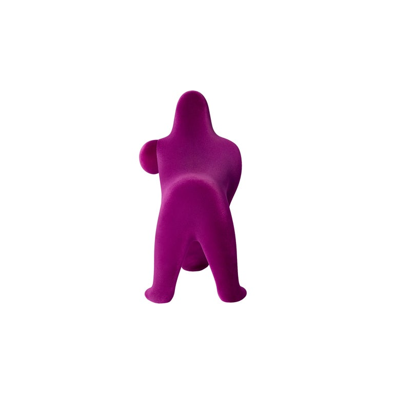 For Sale: Purple (Violet) Modern Small Velvet Sculptural Gorilla Orange Table or Floor Lamp 4