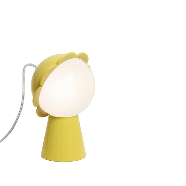 For Sale: Yellow Modern Black Red Pink Yellow Green or Gray Daisy Flower Table Lamp