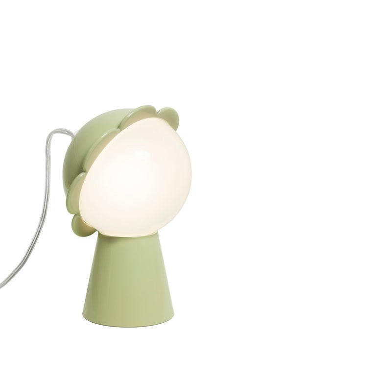 For Sale: Green (Balsam Green) Modern Black Red Pink Yellow Green or Gray Daisy Flower Table Lamp