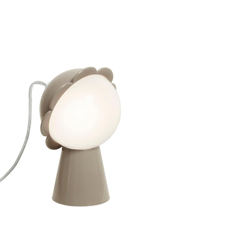 For Sale: Gray (Grey) Modern Black Red Pink Yellow Green or Gray Daisy Flower Table Lamp