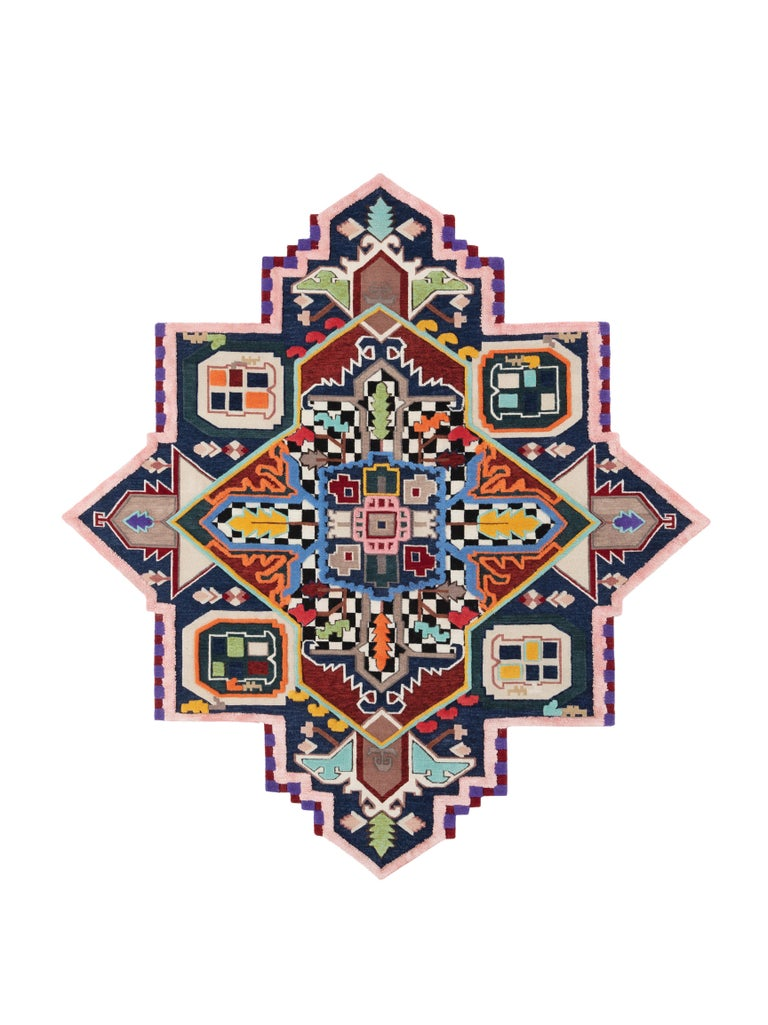 For Sale: Multi (Scacchi) Tabriz Destroyer Rug by CC-Tapis