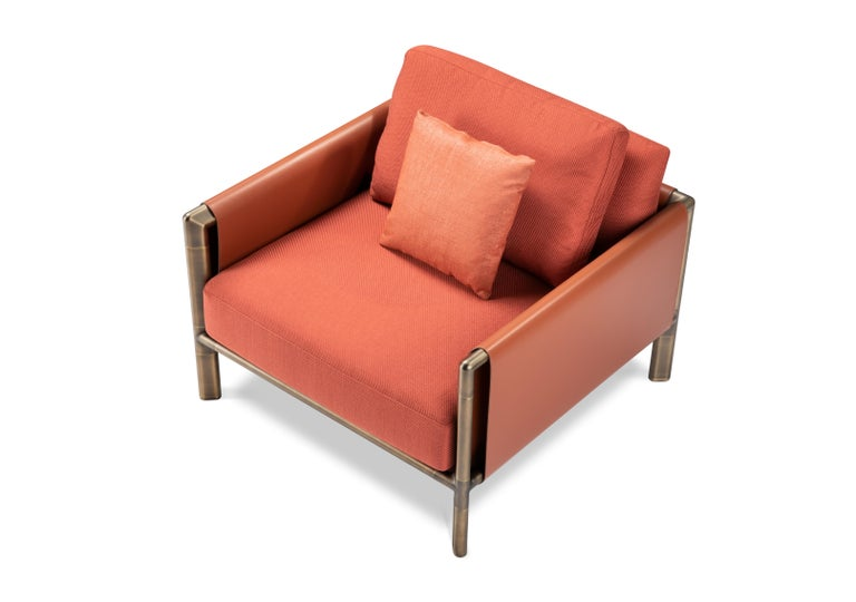 For Sale: Red (Rosso Bulgaro) Ghidini 1961 Frame Armchair with Arms in Cuoio Leather by Stefano Giovannoni 3