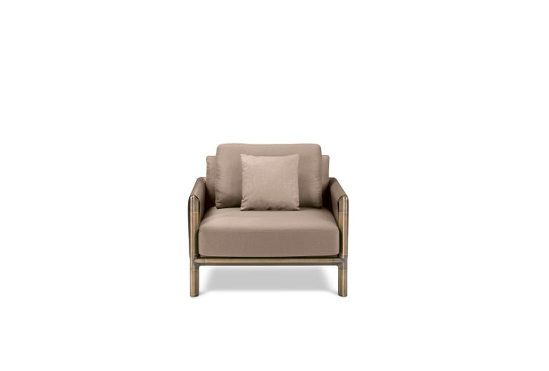 For Sale: Brown (Tortora) Ghidini 1961 Frame Armchair with Arms in Cuoio Leather by Stefano Giovannoni 2