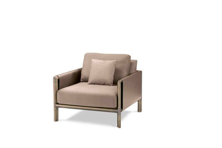 For Sale: Brown (Tortora) Ghidini 1961 Frame Armchair with Arms in Cuoio Leather by Stefano Giovannoni