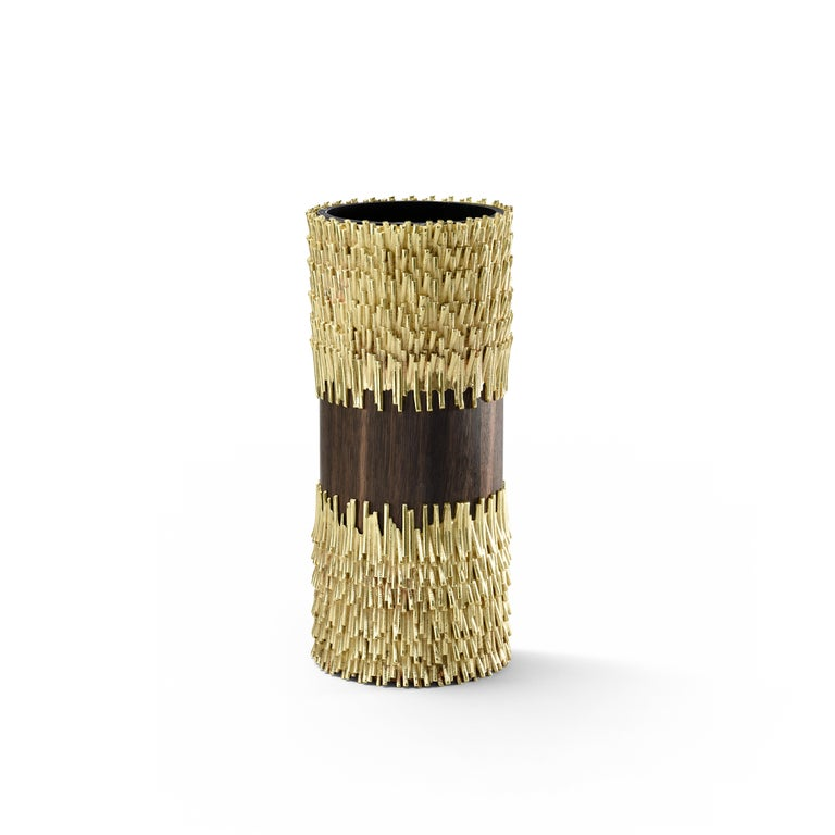 For Sale: Gold (Brass & Wood) Ghidini 1961 Jack Fruit Sculptural Vase by Campana Brothers