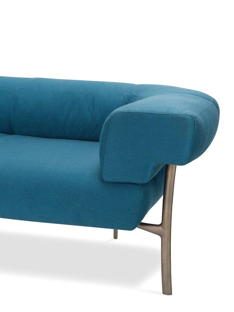 For Sale: Blue (T18007_012-500x500) Ghidini 1961 Katana 2-Seat Sofa in Fabric by Paolo Rizzatto 2
