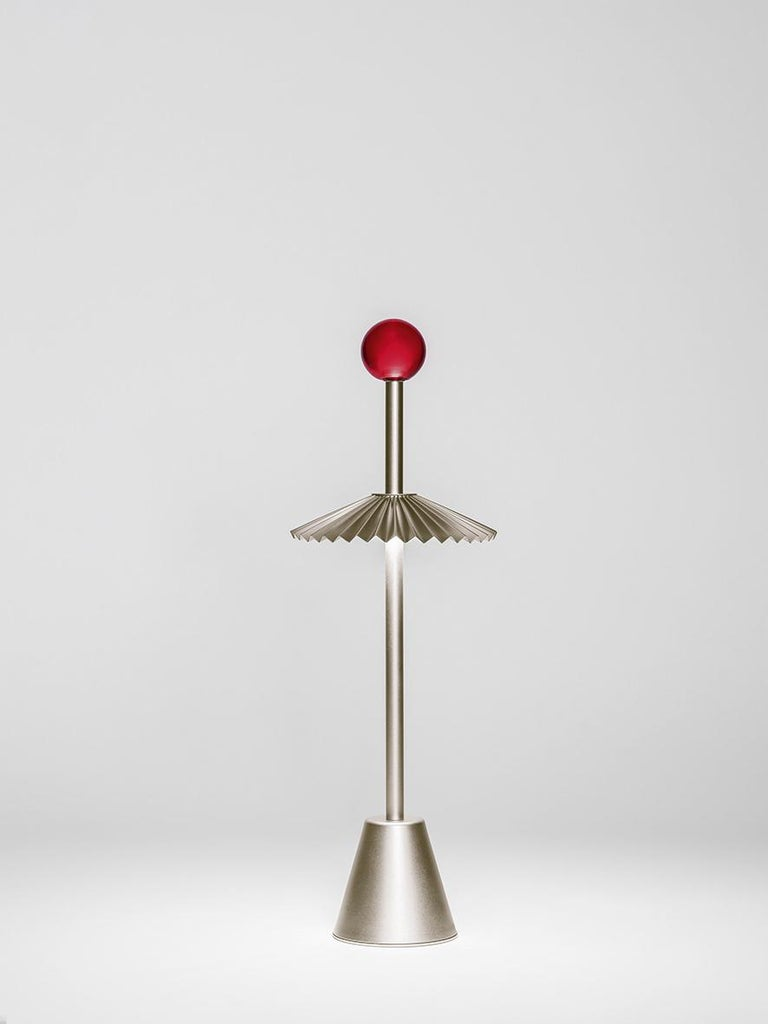 For Sale: Gold (CH — Champagne) Firmamento Milano Etoile Rechargeable Table Lamp by Daniela Puppa