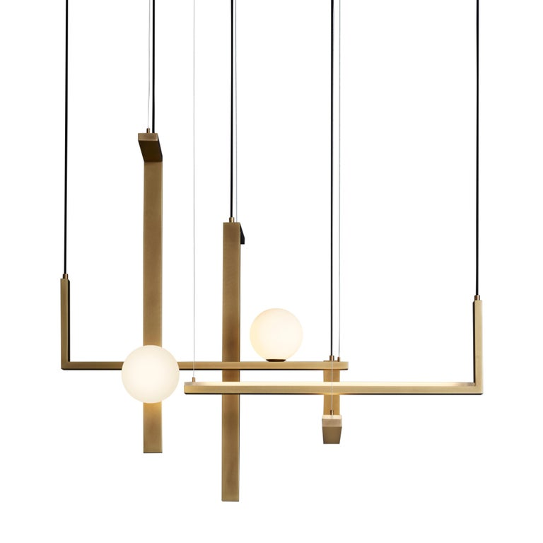 For Sale: Yellow (Burnished Natural Brass) VeniceM Less 5 Pendant Light in Metal and Glass by Massimo Tonetto 2