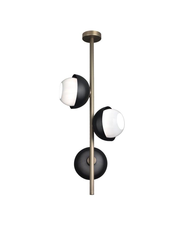 For Sale: Gray (Matte Black Nickel) VeniceM Urban Pendant Light 3 in Light Burnished Brass by Massimo Tonetto 3