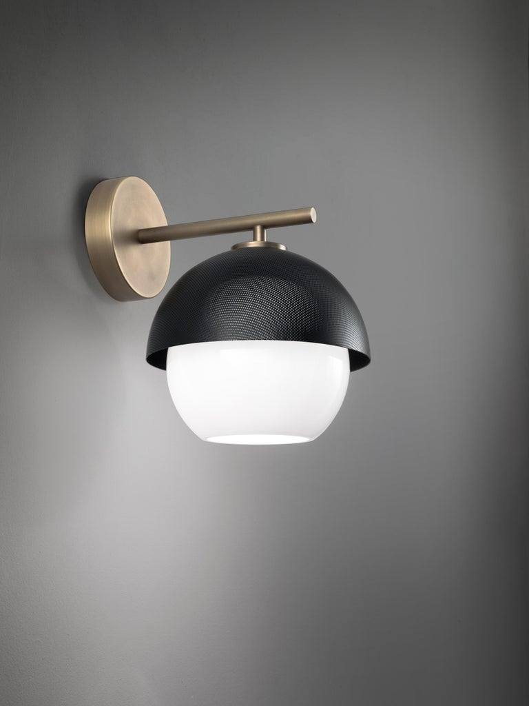 For Sale: Gray (Matte Black Nickel) VeniceM Urban Wall Sconce in Light Burnished Brass by Massimo Tonetto 3