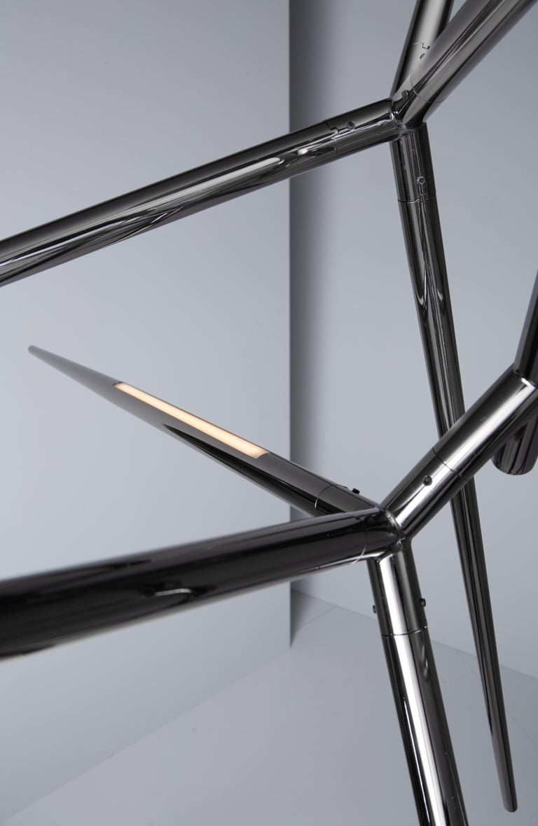 For Sale: Gray (Polished Black Nickel) VeniceM Spear Chandelier by Massimo Tonetto 2