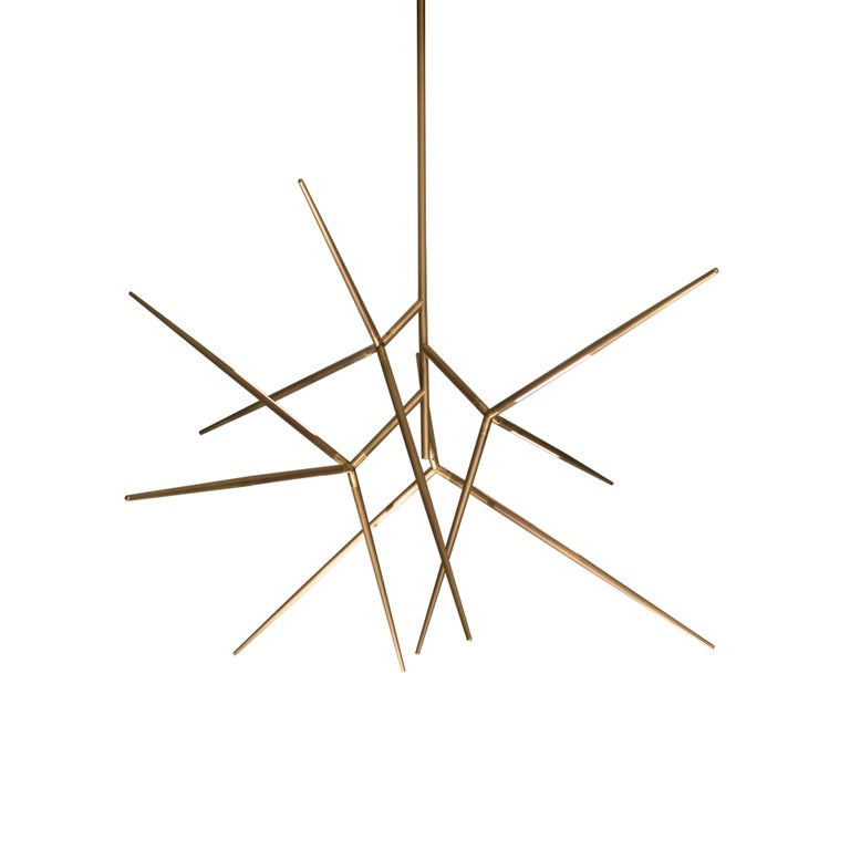 For Sale: Brown (Light Burnished Brass) VeniceM Spear Chandelier by Massimo Tonetto