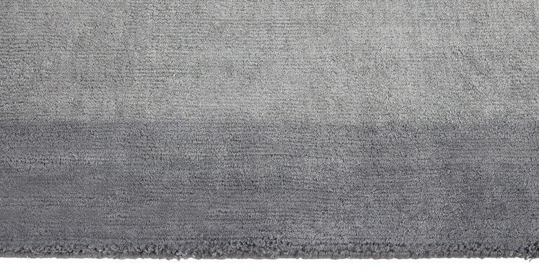 For Sale: Blue (Silk Marca Indigo) Ben Soleimani Silk Marca Rug– Handwoven Sheen Soft Dark Gray 10'x14' 3
