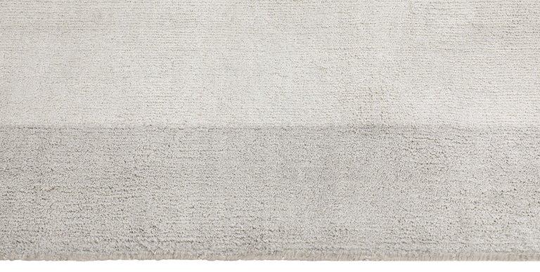 For Sale: Silver (Silk Marca Silver) Ben Soleimani Silk Marca Rug– Handwoven Sheen Soft Dark Gray 10'x14' 3