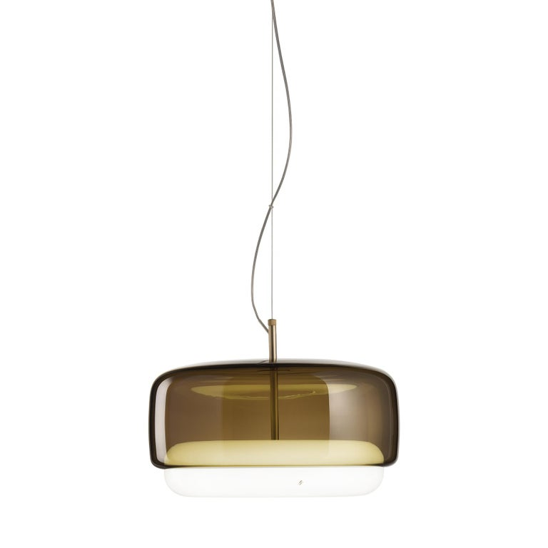 For Sale: Brown (Burned Earth and White) Vistosi LED Jube SP G Suspension Light by Favaretto&Partners