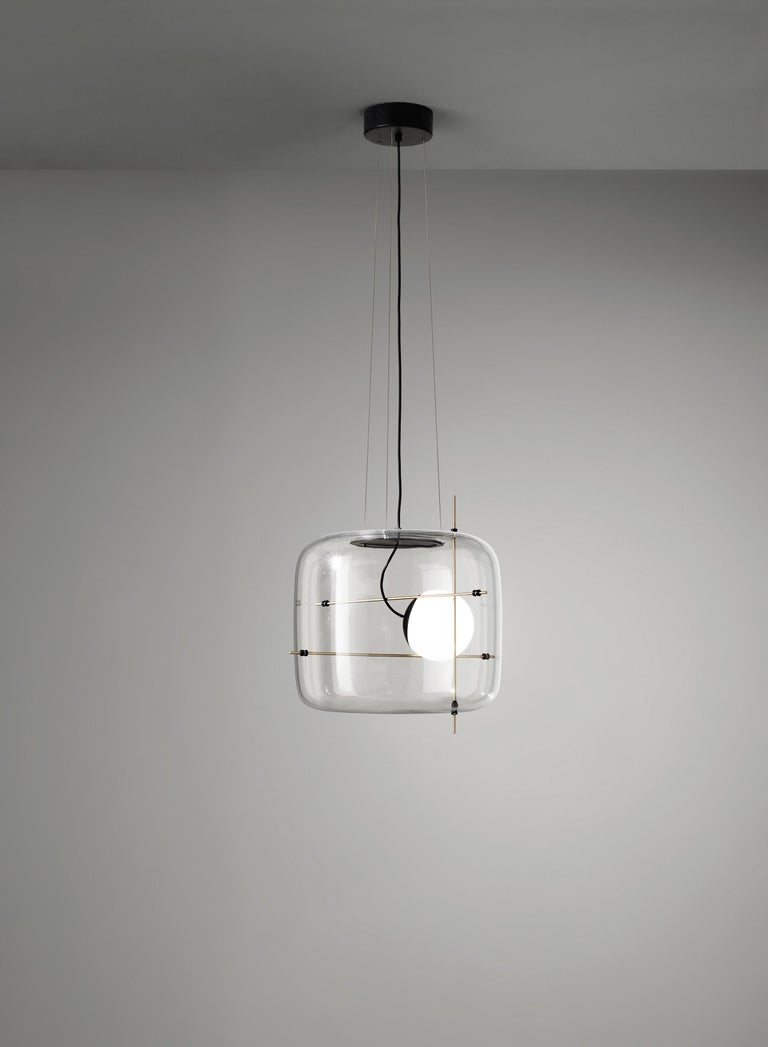 For Sale: Brown (Crystal and Antique Brass) Vistosi LED Plot SP Suspension Light by Chiaramonte & Marin 2