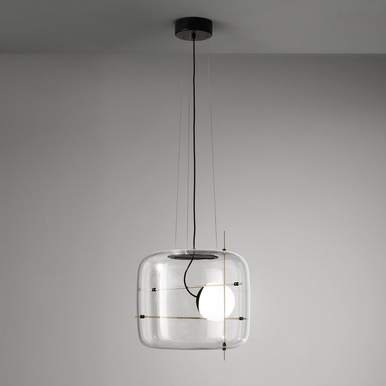 For Sale: Brown (Crystal and Antique Brass) Vistosi LED Plot SP Suspension Light by Chiaramonte & Marin 3