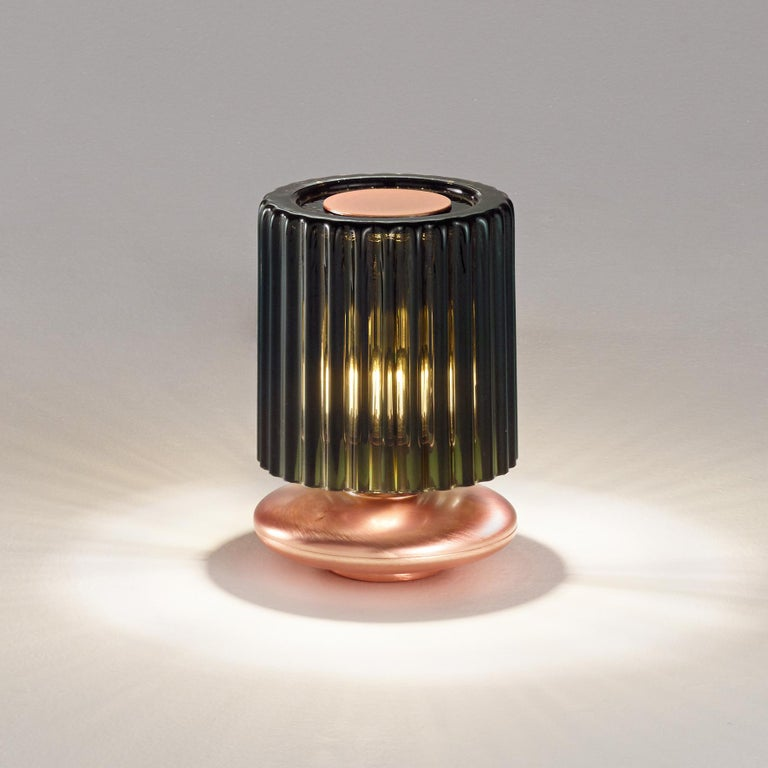 For Sale: Green (Old Green and Transparent) Vistosi Tread LT Table Lamp with Copper Base by Chiaramonte 2