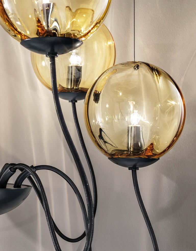 For Sale: Yellow (Amber and Transparent) Vistosi Puppet SP 18 P Suspension Light by Romani Saccani Architetti 2
