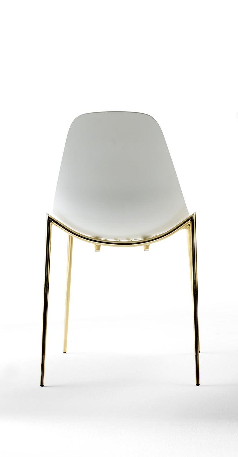 For Sale: White (White with Gold Structure) Opinion Ciatti Mammamia Stackable Chair with Armrests Set of 2 2