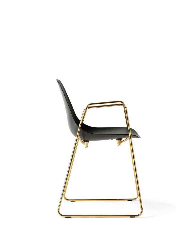 For Sale: Black (Black with Gold Structure) Opinion Ciatti Mammamia Sled Stackable Chair with Armrests Set of 2 2