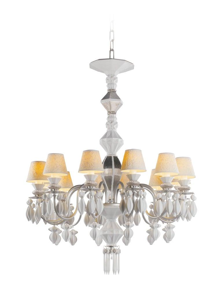 For Sale: Silver (Silver Luster) Lladro Belle de Nuit 12 Lights Chandelier