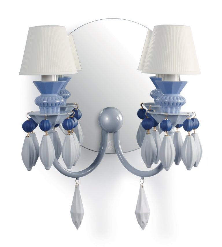 For Sale: Blue Lladro Belle de Nuit 2-Light Wall Sconce